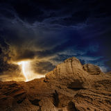 Stormy sky, lightning, mountains Stock Photography