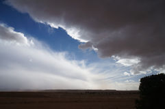 Stormy sky with mountains, Sahara desert, Morocco. Stock Photo
