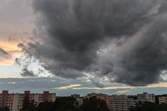 Stormy sky in Munich - Neuperlach royalty free stock photo