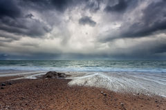 Stormy sky over Atlantic ocean coast Stock Image