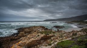 Stormy Sky over the beach. Dramatic stormy sky over the beach. South Africa royalty free stock images