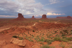 Stormy sky over classical view of Monument Valley, USA Royalty Free Stock Photo