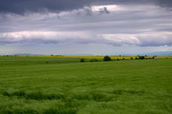 Stormy sky over fields Stock Image