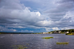 Stormy sky over the lake Stock Photography