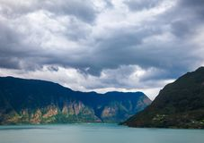 Clouds over the Lustrafjord branch of greater Sognefjord Luster Sogn og Fjordane Norway Scandinavia royalty free stock photo