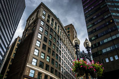 Stormy sky over modern buildings in Boston, Massachusetts. Royalty Free Stock Image