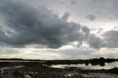 Stormy sky over the river,Dark clouds before thunderstorm. Royalty Free Stock Images
