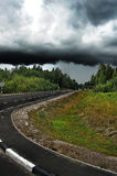 Stormy sky over the road Stock Photography