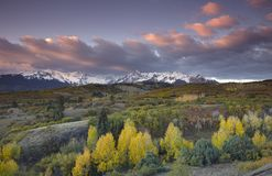 Stormy sky over San Juan Mountain range and Autumn Fall color of the Dallas Divide Ridgway Colorad, America Stock Photo