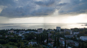 Stormy sky over the sea. The view from the heights of the city and the sea under stormy skies Stock Photo