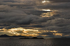 Stormy Sky Over Water. Dramatic, cloudy, stormy sky over water Stock Photography