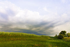 Stormy sky rain clouds countryside. Stock Images