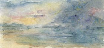Stormy Sky and Sea in Watercolour Royalty Free Stock Photos
