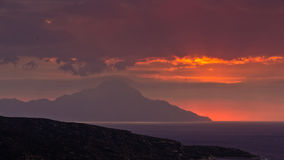 Stormy sky and sunrise at holy mountain Athos Royalty Free Stock Photography