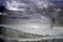 Stormy sky with tornado over cityscape Royalty Free Stock Photo