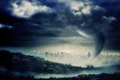 Stormy sky with tornado over cityscape Royalty Free Stock Photography