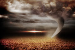 Stormy sky with tornado over field Royalty Free Stock Photo