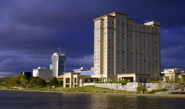 Stormy skyline. Skyline under stormy skies. This is Wichita, Kansas but could represent most urban cities stock photo