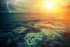 Stormy Sunny Ocean Stock Image