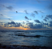 Stormy sunrise, Atlantic ocean coast Stock Images