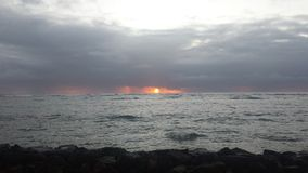 Stormy Sunrise. Kapaa Kauai bike path Royalty Free Stock Photo