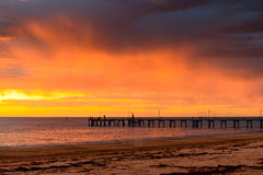 Stormy sunset above Glenelg Jetty Stock Image