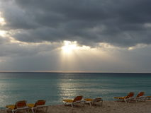 Stormy Sunset on the Beach. Stormy sunset on Bayahibe beach, Dominican Republic Royalty Free Stock Photos