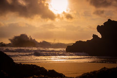 Stormy Sunset at the coast Stock Photos