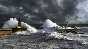 Stormy sunset in Douro Harbor Stock Image