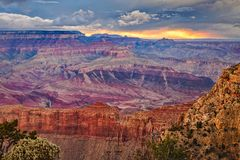 Stormy sunset at the Grand Canyon Stock Photos