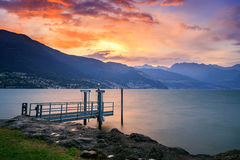 Stormy sunset in lake Como Stock Photography