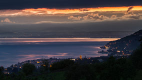Stormy sunset of Lake Geneva Royalty Free Stock Image
