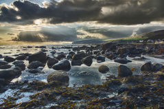 Stormy sunset. Om Isle of Arran stock photo