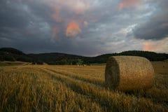 Stormy Sunset. On the Slovakian fields stock photography