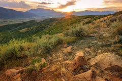 Stormy sunset in the Wasatch Mountains. Moody sunset in the Wasatch Mountains, USA Royalty Free Stock Photo