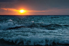 Stormy sunsrise on the sea Royalty Free Stock Image