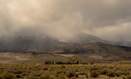 Stormy Valley. Mountains hide in the clouds Royalty Free Stock Photo