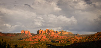 Stormy view of Sedona hills. Stormy skies over the red rocks of Sedona in late afternoon royalty free stock image