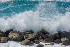 A stormy waters at the beach. A stormy day at the beach royalty free stock images