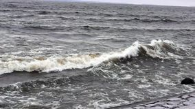 Stormy wave on lake stock footage