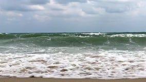 Stormy Wave splash slow motion. Wave splash slow motion. Stormy weather on sea. Natural scene stock video footage