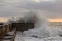 Stormy waves against pier Royalty Free Stock Photography