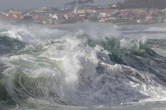 Stormy waves approaching the coast Stock Photo
