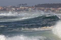 Stormy waves approaching the coast Stock Images