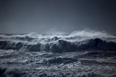 Stormy waves approaching coast Royalty Free Stock Photo