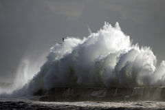 Stormy waves. Big stormy wave against pier and lighthouse Royalty Free Stock Images
