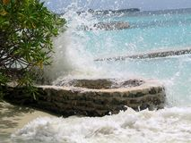 Stormy waves of the Indian Ocean in the Maldives royalty free stock photo