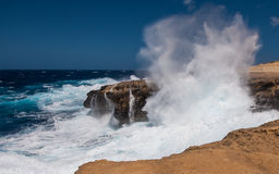 Stormy waves on the island of Gozo in Malta . View of the Mediterranean Sea in Gozo,Malta Royalty Free Stock Photography