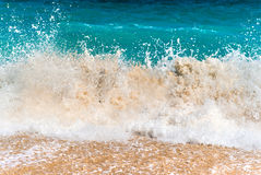 Stormy Waves Reaching Sand Stock Photos