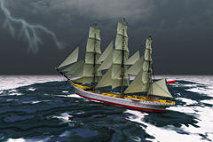 Stormy Weather. A tall ship glides through rough seas during a thunderstorm